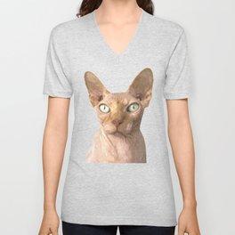 Sphynx cat portrait Unisex V-Neck