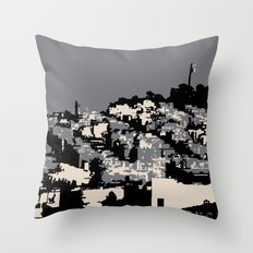 Telegraph Hill Print Black and Grey Throw Pillow