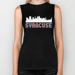 Red White Blue Syracuse New York Skyline Biker Tank