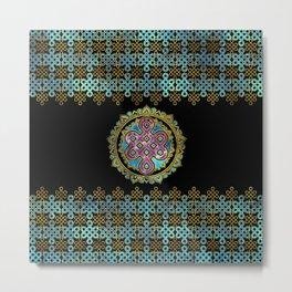 Endless Knot in Mandala Lotus shape Metal Print