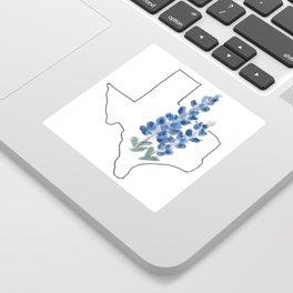 texas // watercolor bluebonnet state flower map Sticker