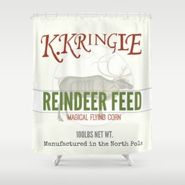 Christmas Reindeer Feed sack Shower Curtain