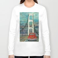 volkswagon Long Sleeve T-shirts featuring VW Bug on Mackinac Bridge by Barb Laskey Studio