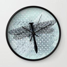 Boho Dragonfly on Light Turquoise Lattice Fence Pattern Wall Clock