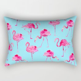 floridian Ffamingos - blue Rectangular Pillow