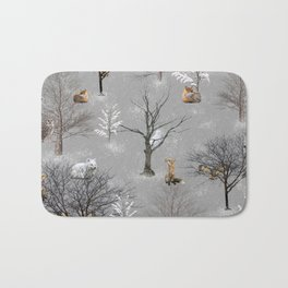 Owls and Foxes in Snowy Trees Bath Mat