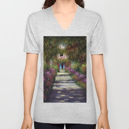 French Garden Pathway with Calla Lilies, Red Poppies, & Purple Irises, Monet's Garden at Giverny portrait painting by Claude Monet Unisex V-Neck