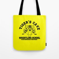 wrestling Tote Bags featuring Tiger's cave wrestling school by CarloJ1956