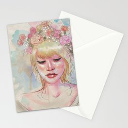 Watercolors and Floral Crowns Stationery Cards
