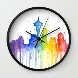 Seattle Skyline Rainbow Watercolor Wall Clock
