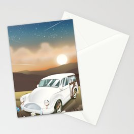 Vintage Car in the sunset. Stationery Cards