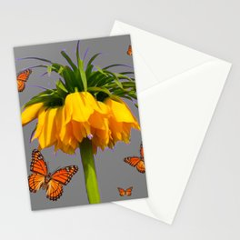 ORANGE MONARCH BUTTERFLIES CROWN IMPERIAL FLOWER Stationery Cards