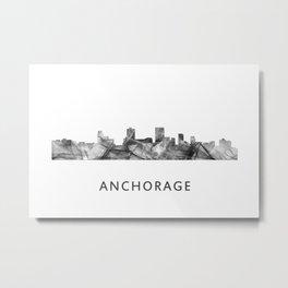 Anchorage, Alaska Skyline WB BW Metal Print
