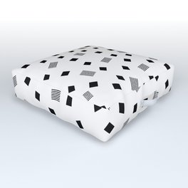 WHITE and BLACK PATTERN Outdoor Floor Cushion