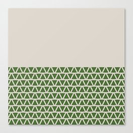 Triangles half Pattern (Treetop Green, Cream) Canvas Print