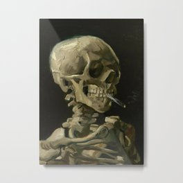 Head of a Skeleton with a Burning Cigarette Metal Print