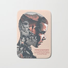 Stranger Things Collage Artwork With Eleven And the Main Cast Bath Mat