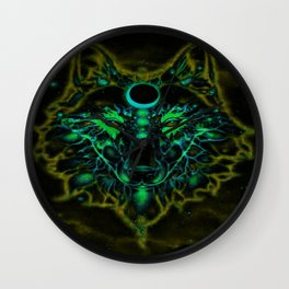 Mythical Neon Yellow Wolf Wall Clock