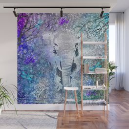 ELEPHANT IN THE STARRY LAKE Wall Mural