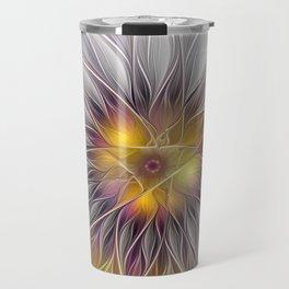 Luminous Flower, Abstract Fractal Art Travel Mug