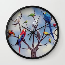 Colorful tropical exotic parrots sitting on the tree Wall Clock