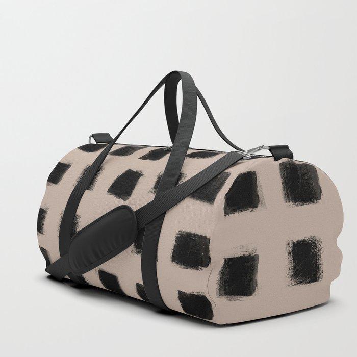 Polka Strokes - Black on Nude Duffle Bag
