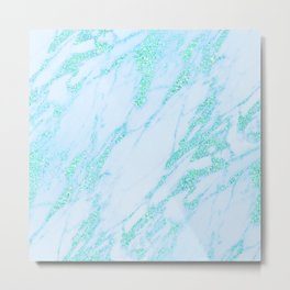 Teal Marble - Shimmery Glittery Turquoise Blue Sea Green Marble Metallic Metal Print