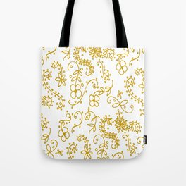 Gold Paisley Floral Tote Bag
