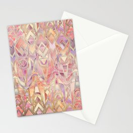 Glowing Coral and Amethyst Art Deco Pattern Stationery Cards
