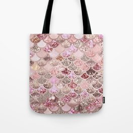 Rose Gold Blush Glitter Ombre Mermaid Scales Pattern Tote Bag