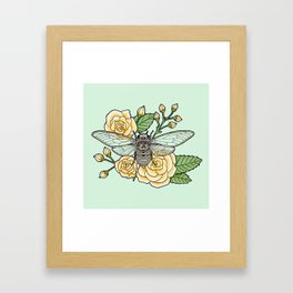 Cicada with Roses - Mint Framed Art Print