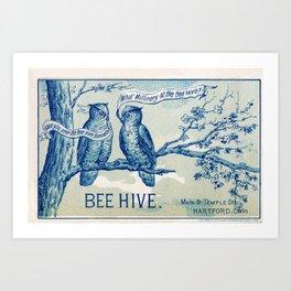 Vintage owl talk Art Print