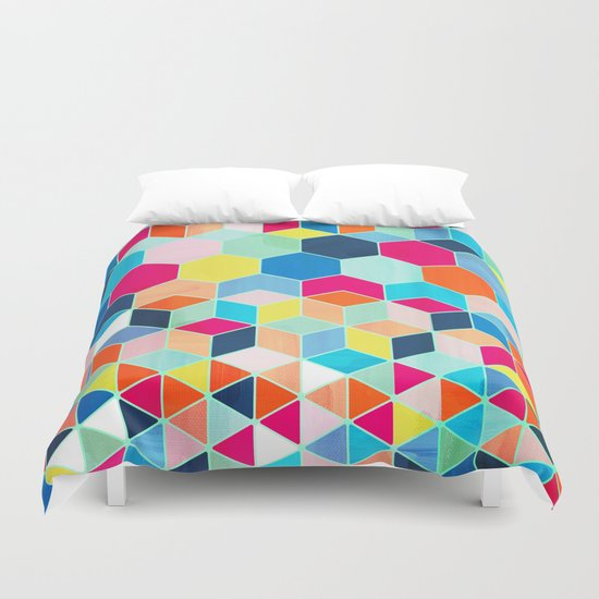 Super Bright Color Fun Hexagon Pattern Duvet Cover