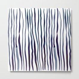 Vertical watercolor lines - indigo Metal Print