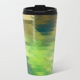 Green yellow triangle pattern, lake Travel Mug