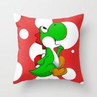 yoshi Throw Pillows featuring yoshi by Mike E. Shorts