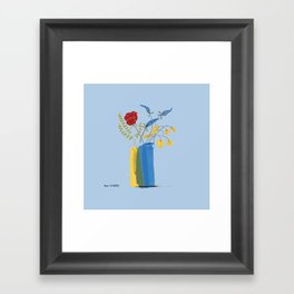 Floral Bouquet in Blue and Yellow Vases Framed Art Print