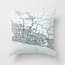 Southend-on-Sea, England, White, City, Map Throw Pillow