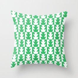 Art Deco Jagged Edge Pattern Green Throw Pillow