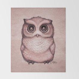 """The Little Owl"" by Amber Marine ~ (Peach Fuzz Version) Graphite&Ink Illustration, (Copyright 2016) Throw Blanket"