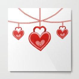 Watercolor Red Heart Lock Hanging Pattern Metal Print