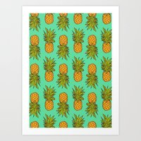 pineapples Art Prints featuring Pineapples by Stephanie Keir