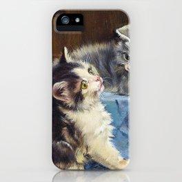 Three Kittens On Blue Blanket - Julius Anton Adam iPhone Case