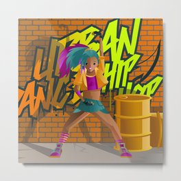 hip hop urban woman dancer in the street Metal Print