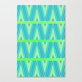 Zig Zag pattern light blue and green 1 Canvas Print