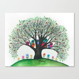 South Carolina Whimsical Owls in Tree Canvas Print