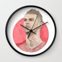 ronaldo Wall Clocks featuring Ronaldo by Megan Diño