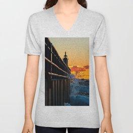 Sunset SPLASH At The Lighthouse Unisex V-Neck