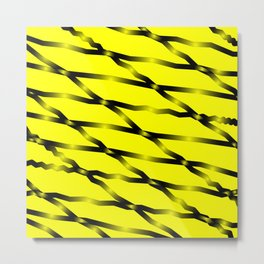 Slanting black lines and rhombuses on yellow with intersection of glare. Metal Print