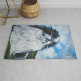 Japanese Chin dog art from an original painting by L.A.Shepard Rug